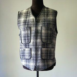 LL BEAN plaid wool vest